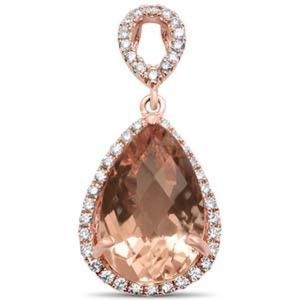 Jewelry - 14K Rose Gold Diamonds & Morganite Pendant